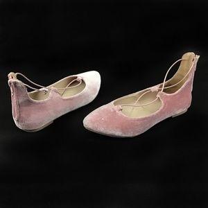 Madden Girl Pink Velvet Ballet Flats Zipper Back 5